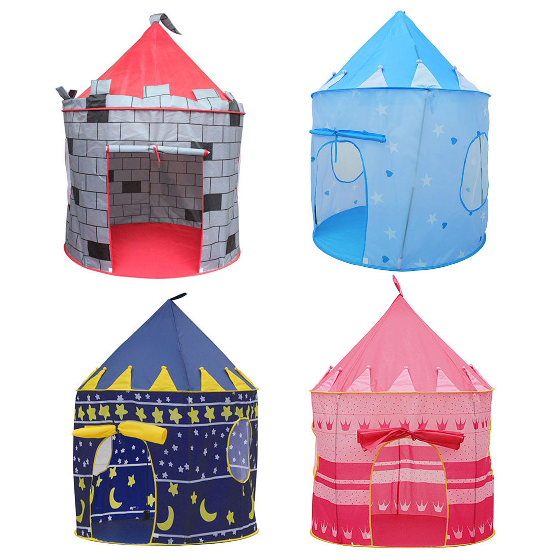 4 Colors Play Tent Portable Foldable Tipi Prince Folding Tent Children Boy Castle Cubby Play House Kids Gifts Outdoor Toy Tents