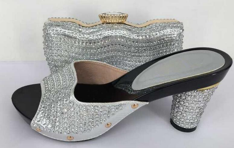 Italian Shoes With Matching Bags Woman Shoe OU-03 Pumps African Wedding Shoes And Bag To Match With Stones