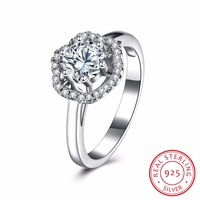 Classic Big AAA CZ Stone 925 Sterling Silver Rings For Wedding Engagement Propose For Women Fashion