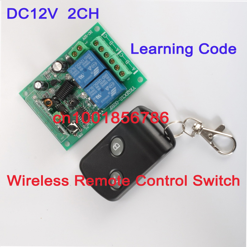 12V 2CH Radio Frequency RF wireless remote control switch system receiver board & transmitter controller Learning Code M4L4T4 dc 12v 24v wireless remote control switch system remote controller rf radio control switch 1ch 10a relay receiver transmitter