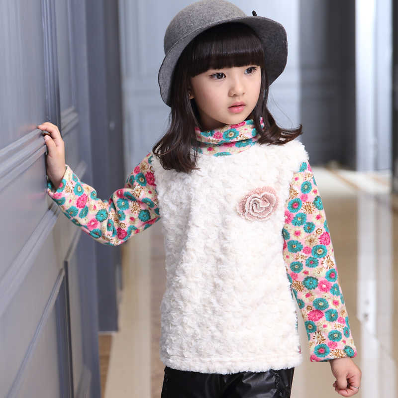 9214ca3cb0a8d Kids clothes Girls winter tshirt fleece lining warm t shirts Kids fake lamb  patchwork t-