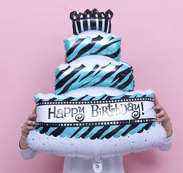 Big Three Tier Birthday Cake Aluminum Foil Balloon Birthday Party