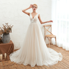 2019 Elegant White Lace Tulle Wedding Dress V Neckline Appliqued A Line Backless Gown