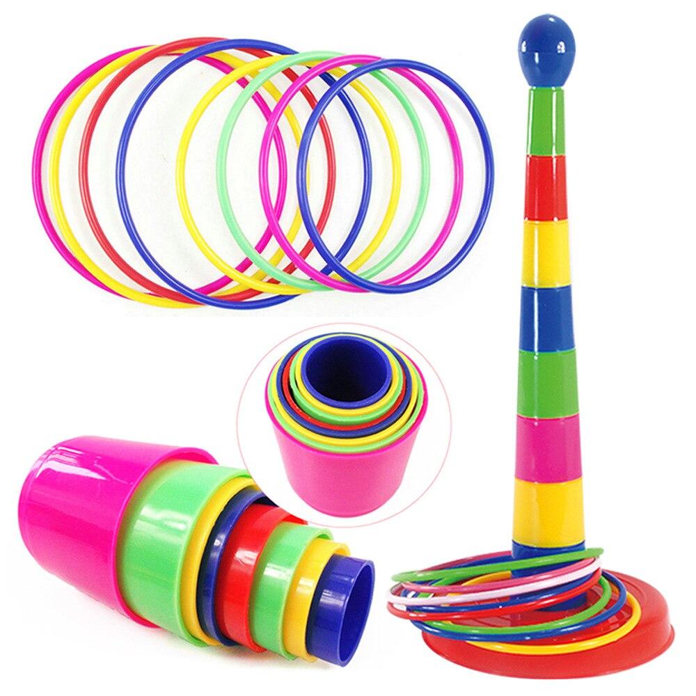 Niños que lanzan anillos Set deportes al aire libre círculo férula capas apiladas juego padre-niño interactivo partido Familia juguetes educativos