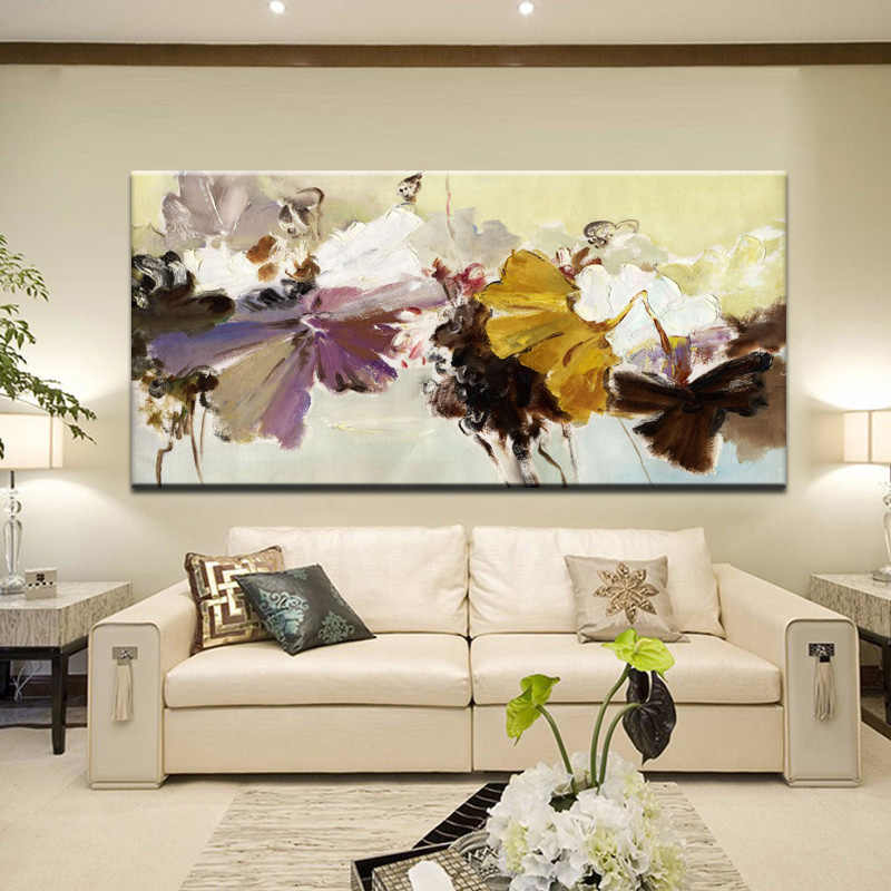 70x140cm - Modern Abstract Canvas Painting Wall Art Poster Hand Painted Flowers Prints on Canvas For Living Room Home Decoration