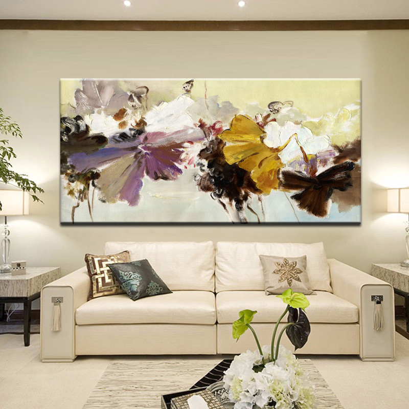 70x140cm - Modern Abstract Canvas Painting Wall Art Poster Hand Painted Flowers Prints on Canvas For Living Room Home Decoration image