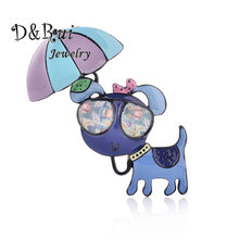 Enamelled Animal Brooch Pins Stylish Umbrella And Glasses Dog Brooches Alloy Jewelry For Suits Dress Banquet Gift New