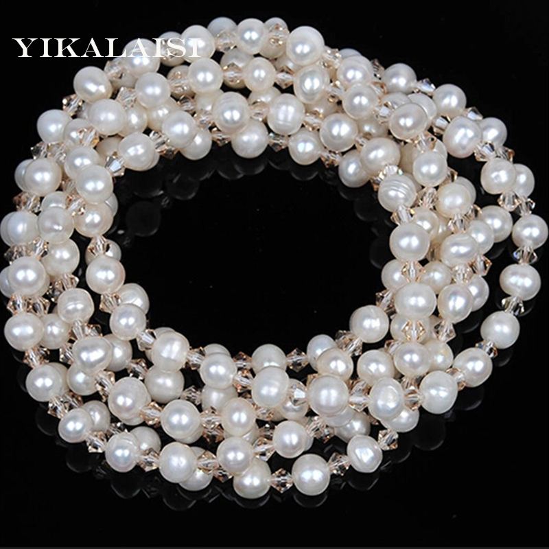 YIKALAISI 2017 NEW Long Multilayer Pearl Necklace Pearl Crystal Beads Women Accessories Statement Necklace Jewelry For Women недорго, оригинальная цена