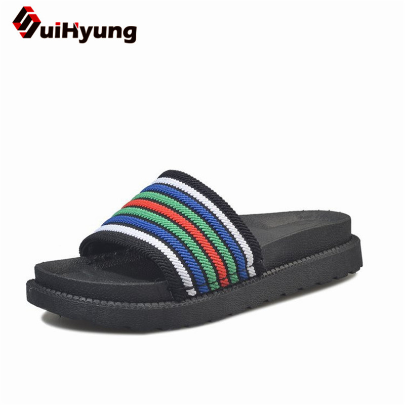 Suihyung New Women Summer Slippers Colorful stripes Elastic Fabric Beach Flip Flops Sandals Non-slip PU Leather Slippers Flats suihyung design new women and men summer flat shoes hit color breathable hollow beach slippers flips non slip unisex sandals