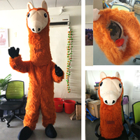 Ohlees Actual Picture Brown LLAMA THERMO Giraffe Sport Mascot Costumes Character For Halloween Party Activity Fancy Adult Size