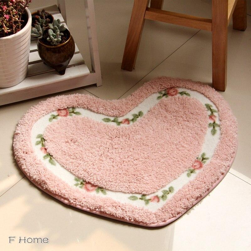 rose floral soft ultrafine floor mats heartshape and oval rug pink red love carpets bedroom bathroom rugs