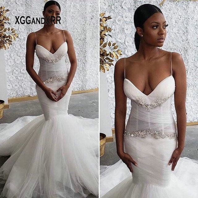 8cc2ea91db3d Sexy Mermaid Wedding Dress 2019 Bridal Gown Sweetheart Spaghetti Backless  Black Brides Lace Applique Sleeveless Plus Size Gown