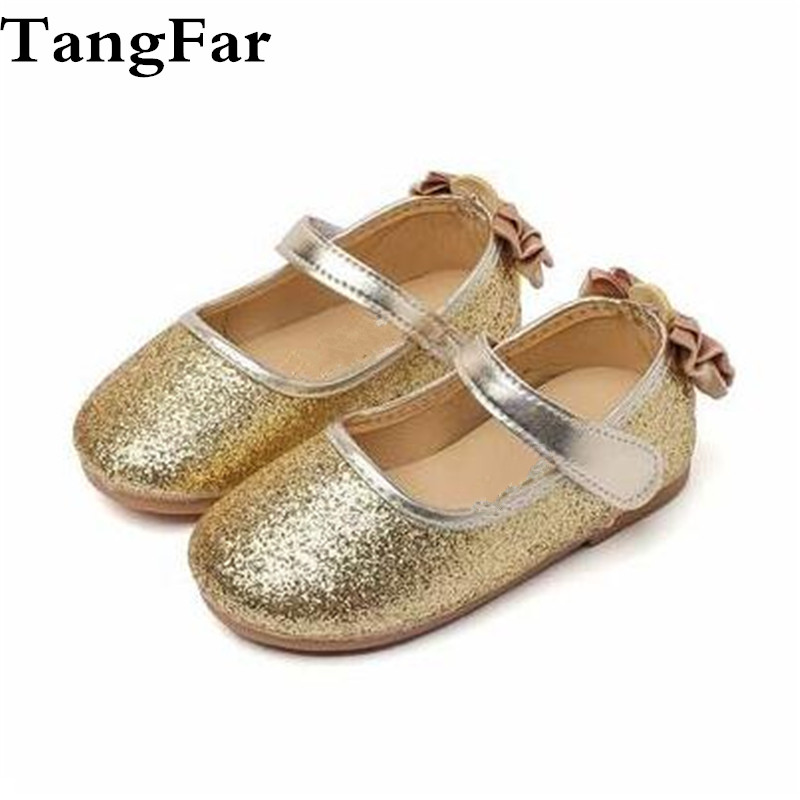 Princess Shoes Kids Butterfly Glitter Girls School Golden Shoes Fashion Soft Leather Party Moccasins For Toddler
