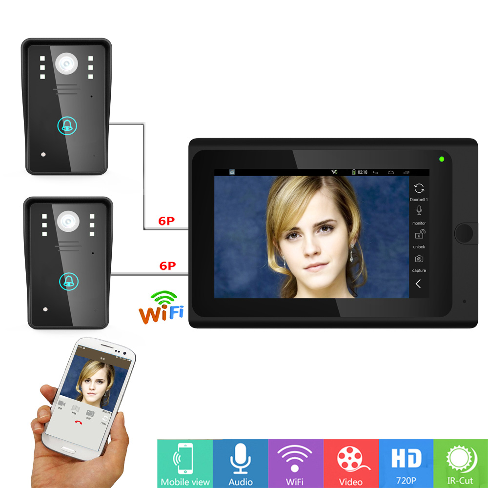 Wired Wifi IP Video Door Phone Doorbell Intercom Entry System With Two 1000TVL Cameras Night Vision