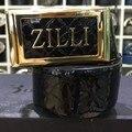 Cinto ZILLI dos homens 2016 lançando o primeiro posto de conforto moda elegante alloy pin fivela de couro real cor sólida frete grátis