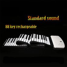 SOACH new Portable 88 Keys Flexible Roll-Up Piano USB Electronic Organ Keyboard Hand Roll Piano rechargeable standard sound