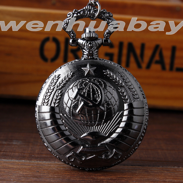2015 New Soviet Sickle hammer cepn n monot Style Quartz Pocket Watch Men women V