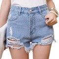 Woman Summer Shorts 2016 Korean Sexy Irregular Holes Ripped Denim Shorts High Waisted Cotton Jeans Shorts HotPant Bermuda Femme