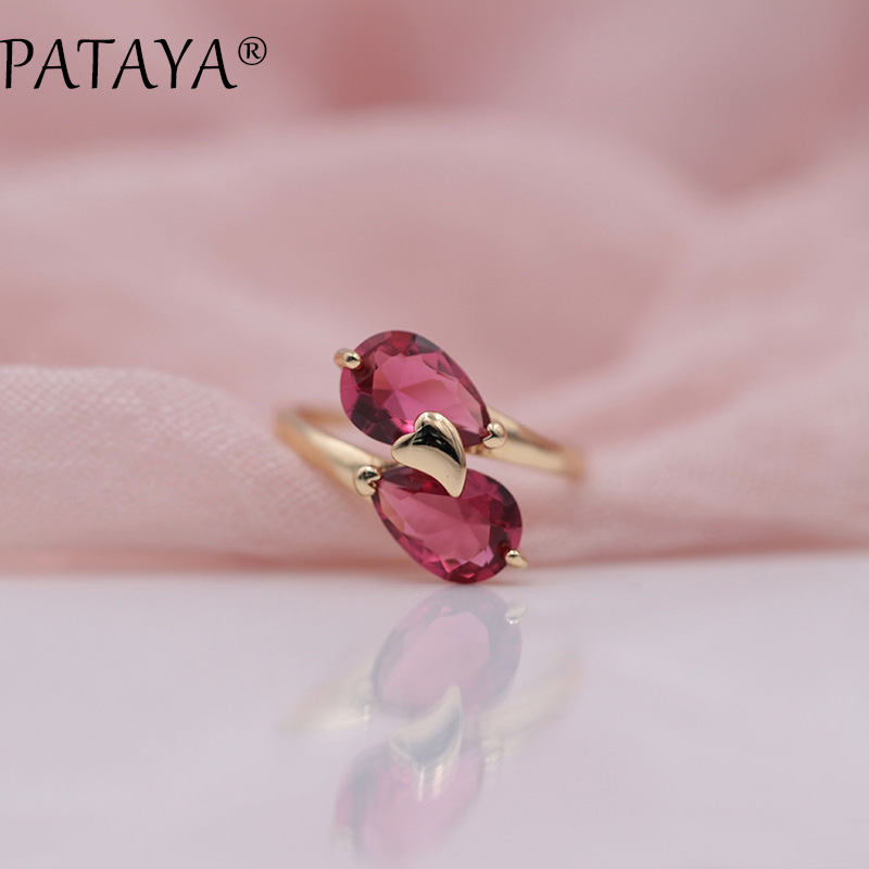PATAYA New Arrivals Brand 585 Rose Gold Rings Rose Red Double Water Drop Natural Zircon Ring Women Trendy Wedding Party Jewelry