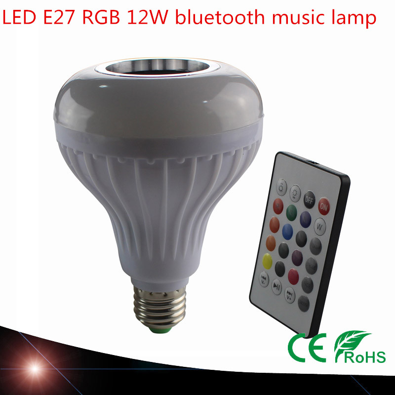 Smart E27 RGB Bluetooth Speaker LED Bulb Light 12W Dimmable RGBW Wireless Music Playing Leds Lamp with 24 Keys Remote Control цена 2017