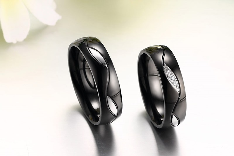 Vnox Black Wedding Ring for Lover CZ Couple Ring 316l Stainless Steel Engagement Jewelry