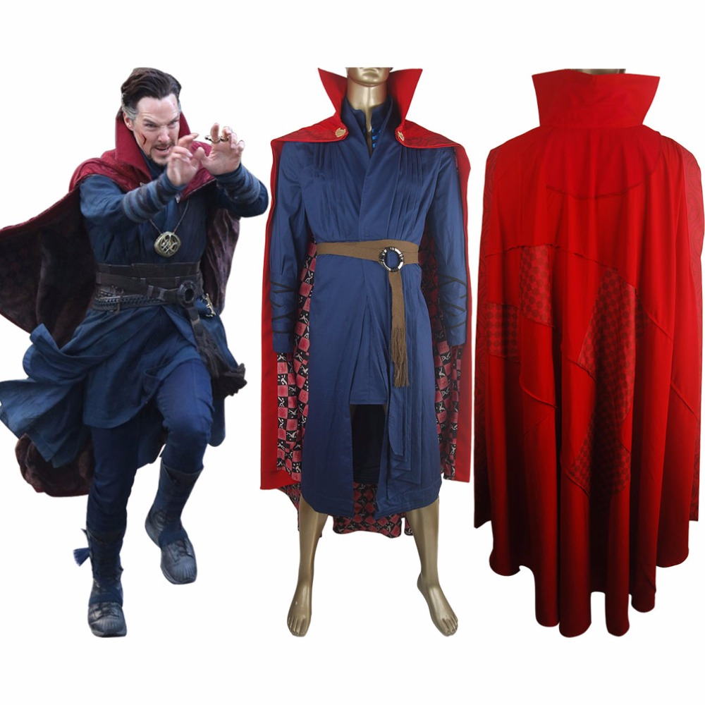 Doctor Strange Outfit Uniform Cape Full Set Halloween Cosplay Costume Comic-con Men Adults