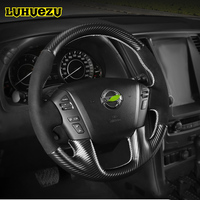 Leather Hand Sewing Steering Wheel Cover For Nissan Patrol Y62 Armada 2013 2014 2015 2016 2017 2018 Accessories