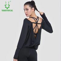 Herbst Frauen Yoga Tops Fitness Shirts Sport Langarm Sexy Backless T-shirt Gym Kleidung Trocknen Schnell Lose Yoga hemd