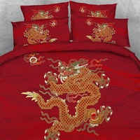 Royal Linen Source Brand 4 PCS PER SET Golden dragon on beautiful red background 3d bed linen set 3d Bed Cover with Bed sheet