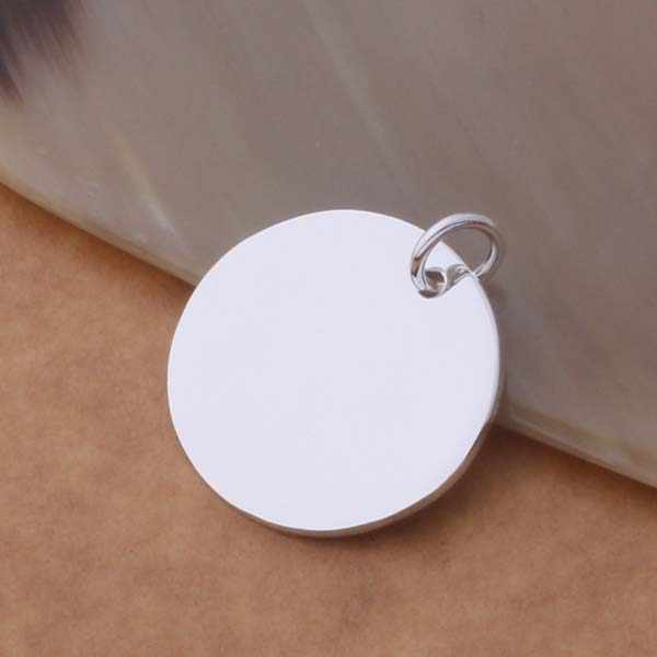 Wholesale silver plated charm jewelrys Necklace,free shipping 925 stamped fashion jewelry pendant Silvery disc AN691