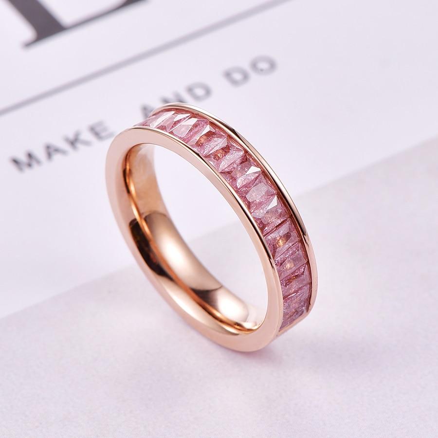 MALANDA Brand Fashion Colorful Crystal from Swarovski Zircon Rings For Women Titanium Steel Female Weddings Rings Jewelry Gift