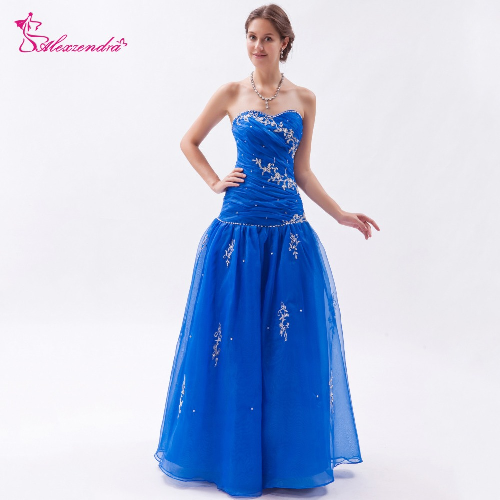 Alexzendra Royal Blue Tulle Beaded Appliqued Long Prom Dresses Plus ...