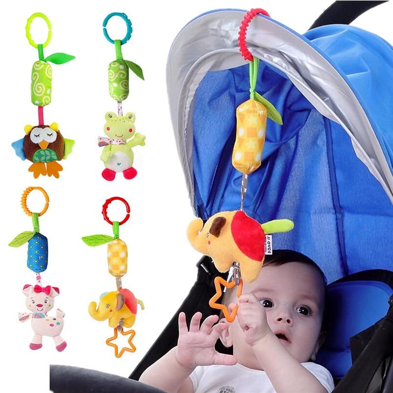 JJOVCE Infant Rattle Cartoon Animal Models Baby Stroller Tinkle Hand Bell Campanula Pendant Plush Educational Toys 40% off gorros de baño con flores