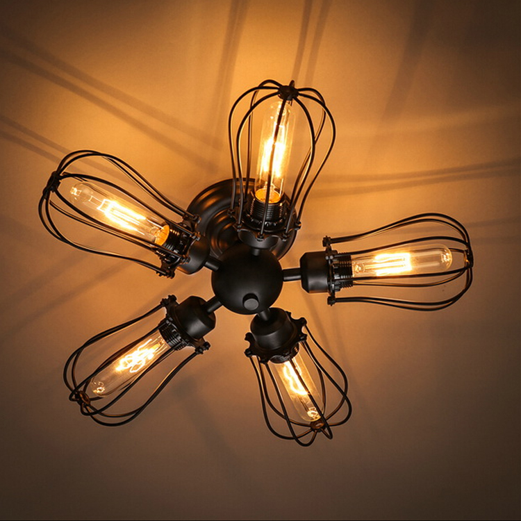 Loft industrial wind wall lamp for living room bedroom room bar hone decorations lighting iron 5 heads wall lights ZAG