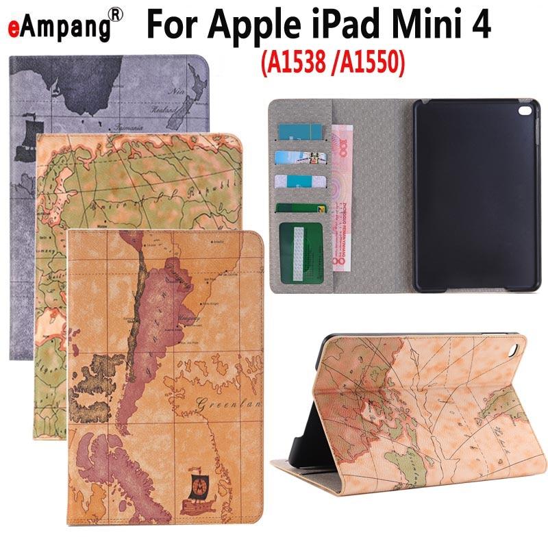 Retro Map Leather Case for Apple iPad Mini 4 Mini4 7.9 inch Smart Case Cover Funda Tablet Slim Flip Stand Card Slot Skin Shell