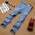 Moda verão Sulee Jeans Homens Famosos Marca de Jeans Angustiados Para homens de Qualidade Em Linha Reta Classic Jeans Azul Fina Legal Plus Size 40