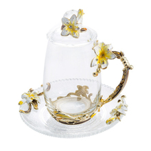 Novelty Lily Enamel Crystal Cup Flower Tea Glass Heat-Resistant Coffee Water with Handgrip Perfect Gift