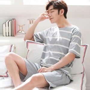 Image 5 - Cặp đôi Cotton Bộ Đồ Ngủ Bộ Nữ Mùa Hè 2019 Sọc Bộ Pyjama Nam Đồ Ngủ Homewear Phòng Chờ Quần Áo Nữ Pijama