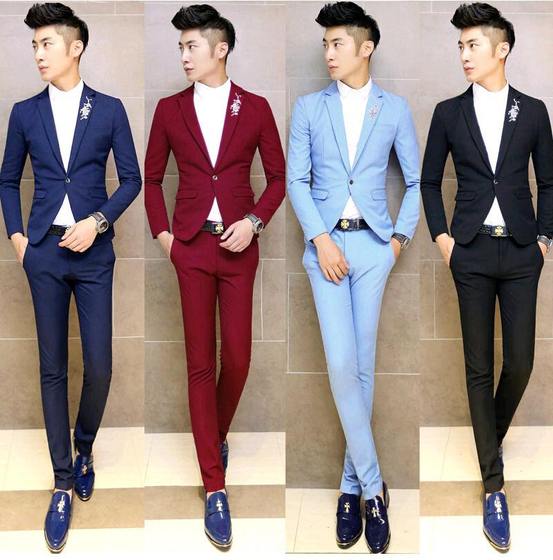 Aliexpress.com Comprar 2015 Floral bordado de color formales smoking  hombres traje Set trajes de boda para hombre vestido últimas bragas de la  capa diseños
