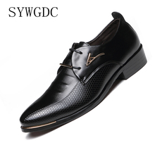 SYWGDC 2019 New High Quality Genuine Leather Men Dress Shoes Lace-Up Business Men Oxfords Shoes Italian Male Formal Shoes цена