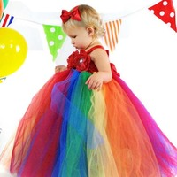Little Girls Rainbow Color Tutu Dress Kids Handmade Crochet Flowers Tutus Ball Gown With Red Bow