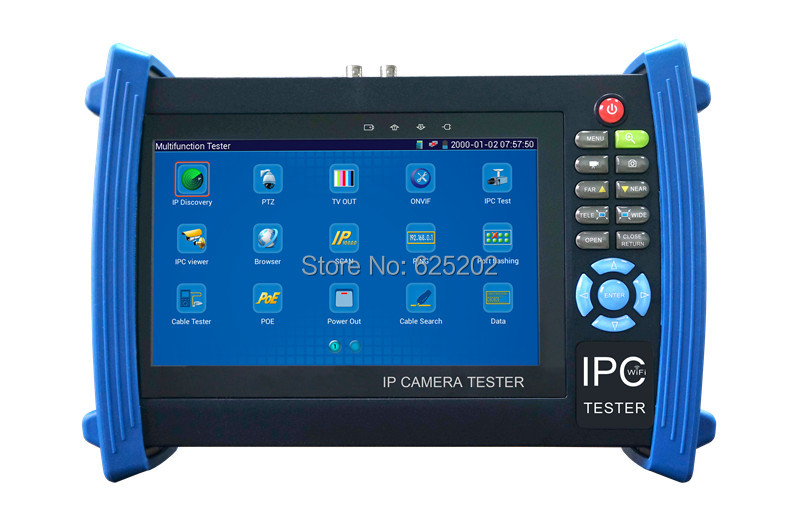 7 Inch Screen 3-in-1 CCTV Tester for IP Cameras Testing IPC-8600ADH (IPC, AHD, CVI, TVI)