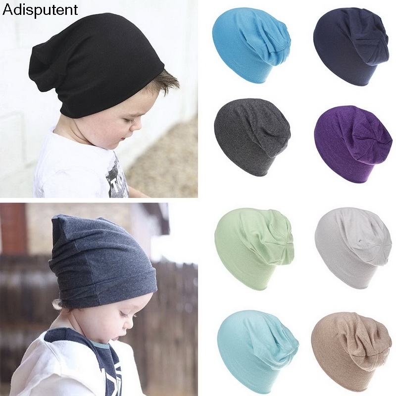Adisputent Cute Kids Baby Slouchy Hat Solid Color Soft Winter Warm Beanies Hats Toddlers Caps Adisputent Winter Baby Warm Hat(China)