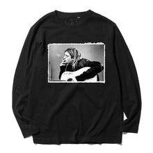 Kurt cobain grunge rock tee moda Pesado penteado completa Mangas Compridas  t camisa estilo de rua 3ea6251ea21