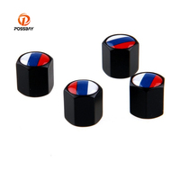 POSSBAY 4pcs/Set Car Auto Wheel Tire Valves Caps with Key Ring Anti theft Russia UK US Italy France German Flag Car styling