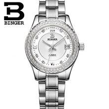 Switzerland women's watches luxury brand BINGER luminous Automatic self-wind Diamond full stainless steel Waterproof B1112-4