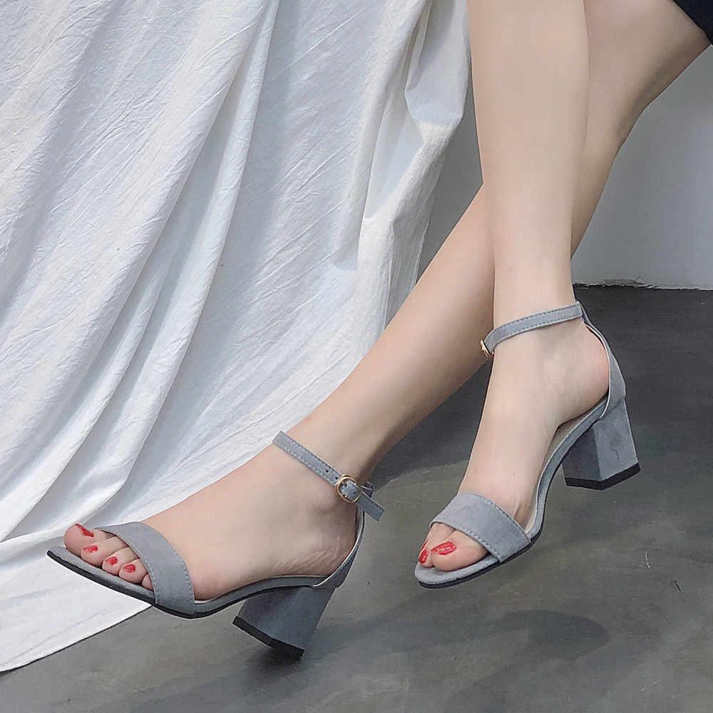 MUQGEW di Modo Delle Signore Delle Donne Sandali Cunei di Base Fibbia Alla Caviglia Tacco Medio Block Party Open Toe Scarpe
