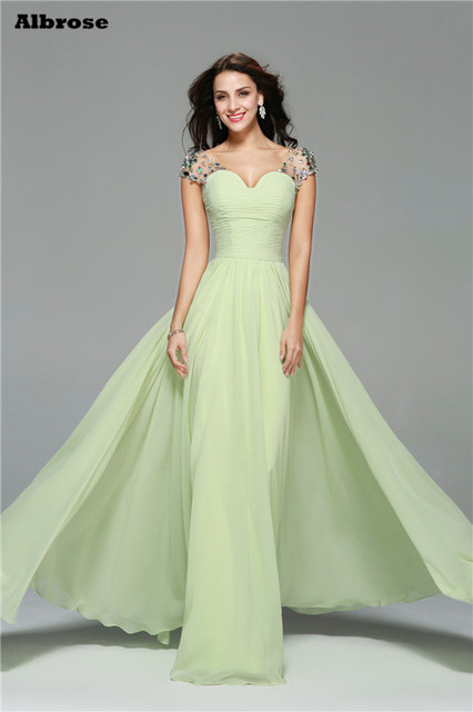 Yellowish Green Chiffon Y Beach Evening Dress Crystal Cap Sleeve Evenning Dresses Long Backless Elegant Formal