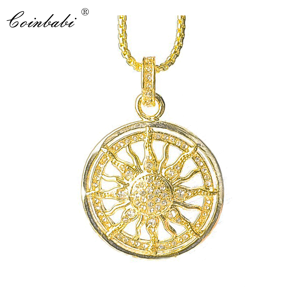 Link Chain Necklace Gold Color Sun Gift For Men Women, Thomas Style 925 Sterling Silver Fashion Trendy Jewelry