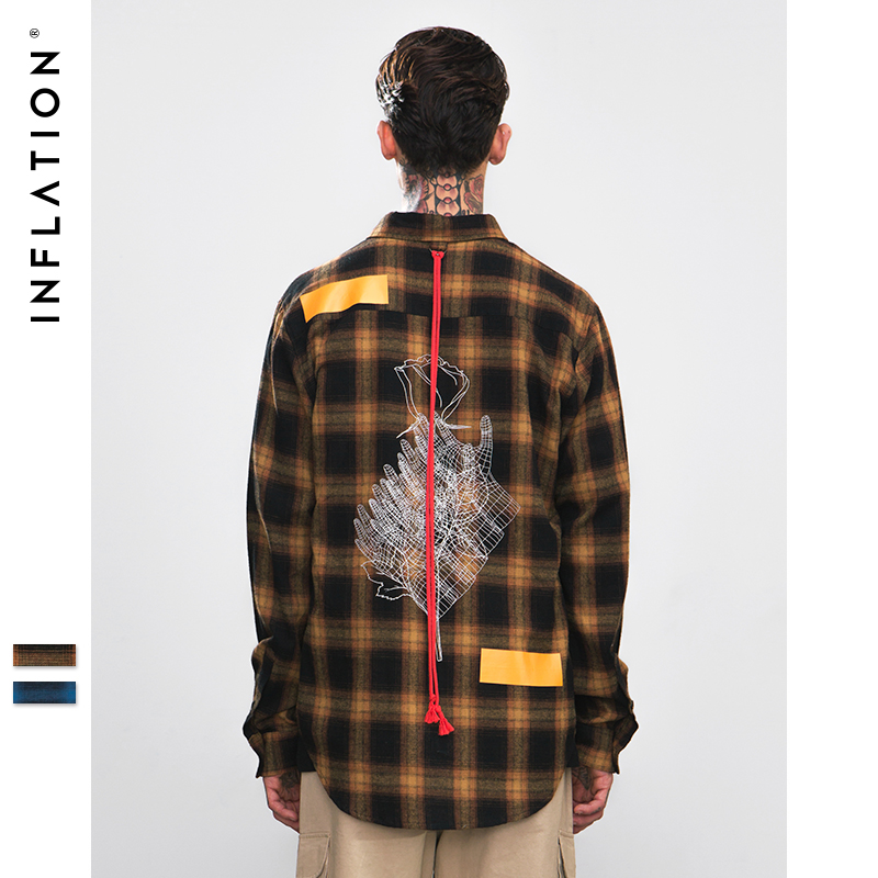 INFLATION Hand And Flower Printing Check Shirts Men Women Couple Skateboard Casual Shirts Red Tape Design Plaid Shirt 8714W
